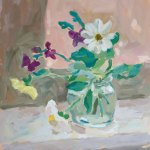 Oil painting depicting a glass vase holding a bouquet of light yellow, white and purple flowers.