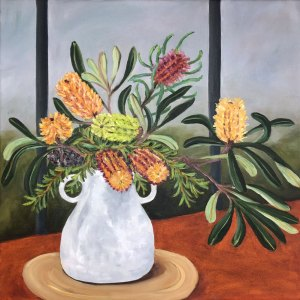 Oil painting of a bouquet of native Australian flowers in a double handled white vase sitting on a beige placemat and an ochre-coloured table.