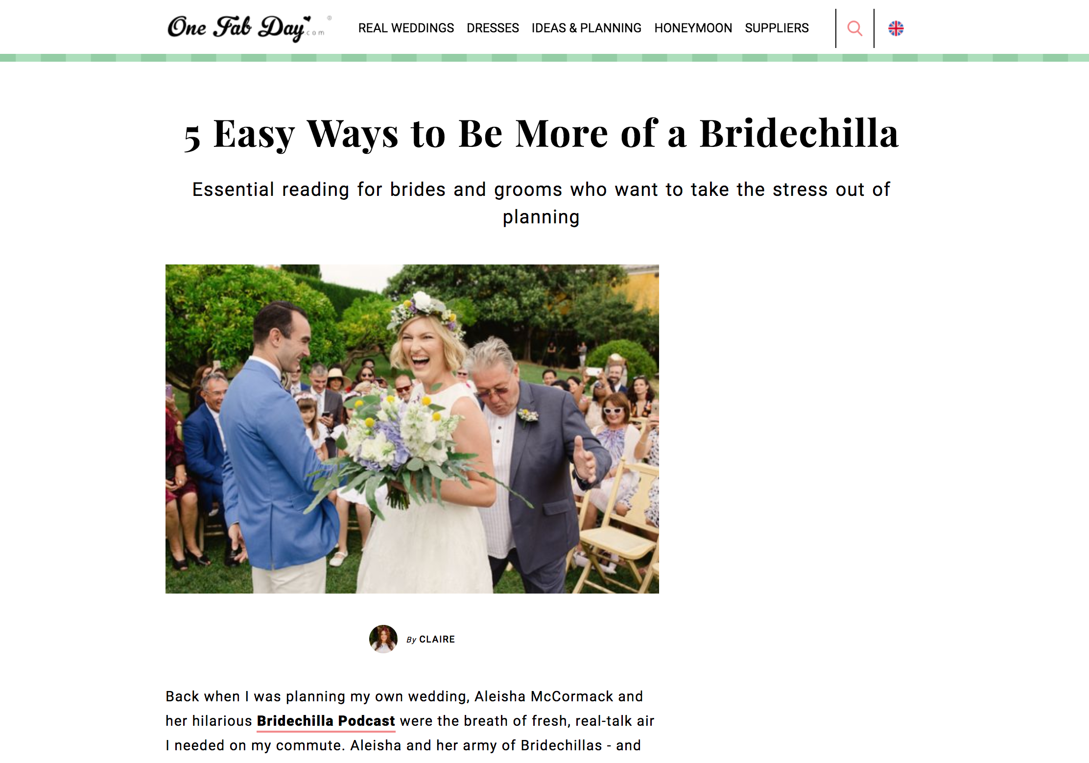 Bridechilla Podcast One Fab Day