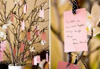 Get your guests to hang their well wishes on the tree for you to take home and decorate your house with!