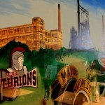 Mural on cafe wall of local landmarks of Leigh