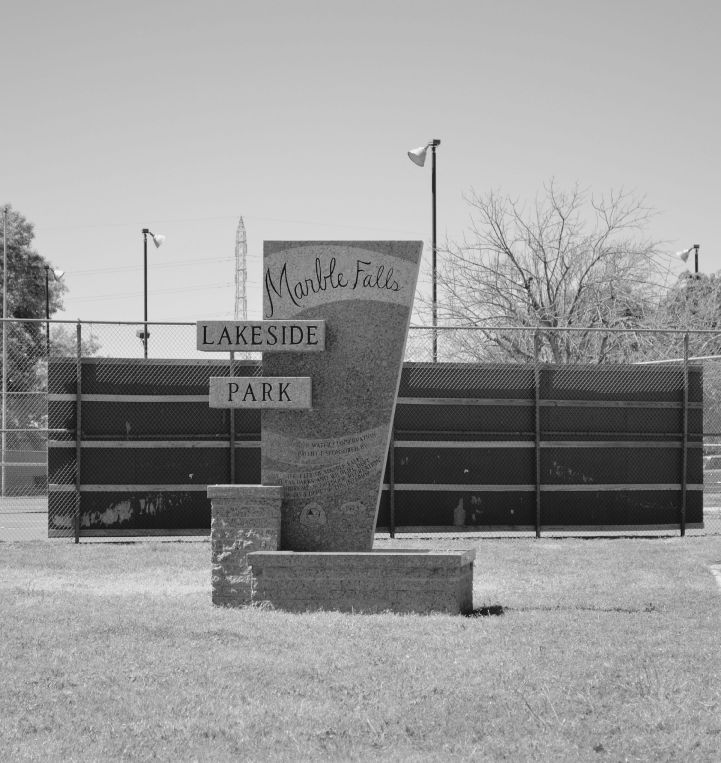 Marble falls park lakeside black white
