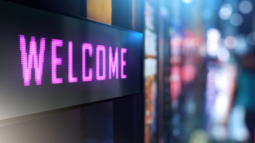 Digital welcome sign