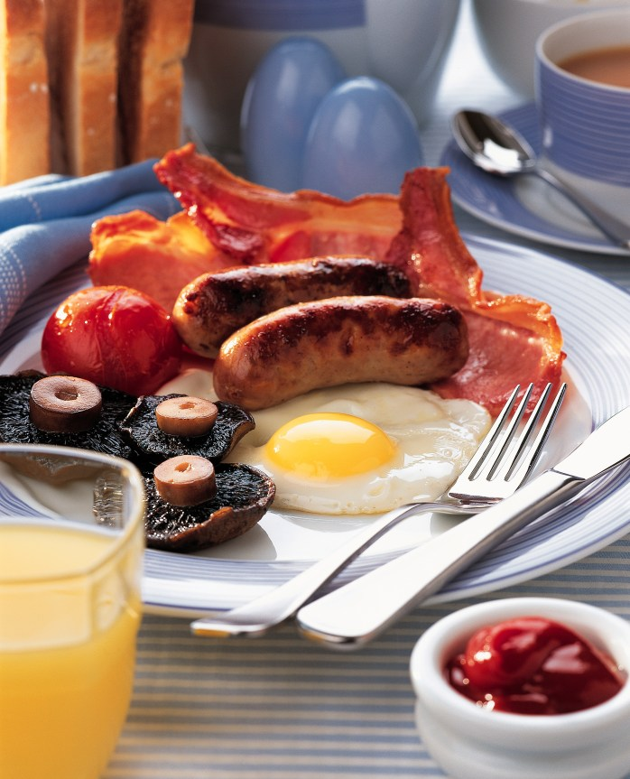 """Get yourself a full English breakfast or an all-day breakfast, otherwise known as a """"a fry up."""" Yum!"""