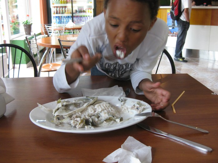 This is what happens to children who don't eat their greens - boiled fish for dinner, and only boiled fish!