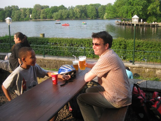 Relaxing on the river bank in Berlin with good old German beer!