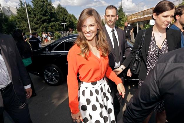 Hilary Swank at the  Mercedes-Benz Fashion Week Berlin.