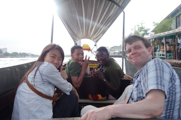 Before we fell asleep on the gentle river in Bangkok, Thailand!