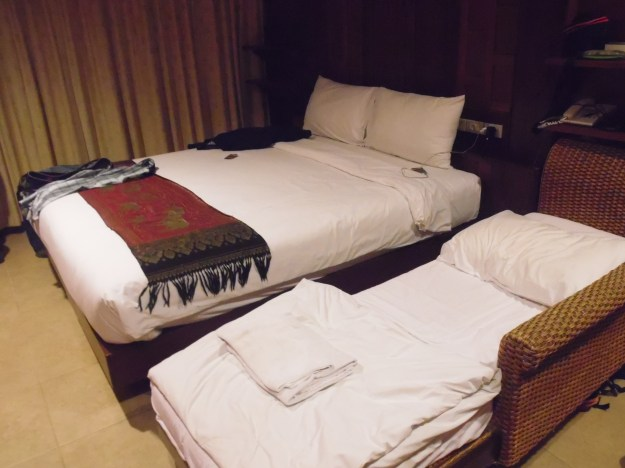 Our superior room which included a divan, perfect for a young family or a few friends. In Bangkok!