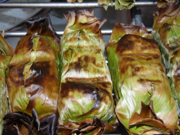 Sticky rice wrapped in banana leaf - Bangkok, Thailand.