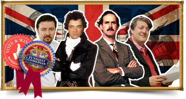 Ricky Gervais (The Office), Rowan Atkinson (Blackadder), John Cleese (Fawlty Towers) & Stephen Fry (as Stephen Fry)!