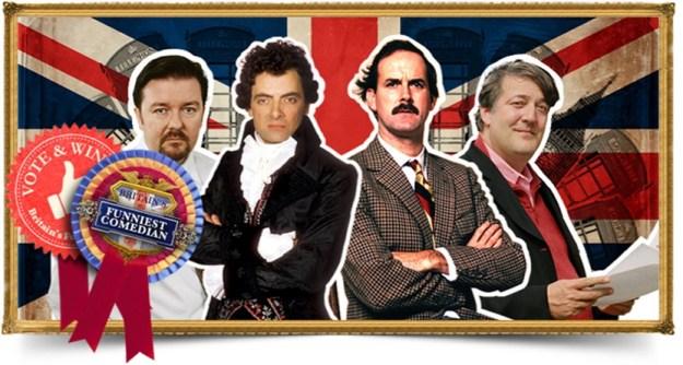 Ricky Gervais (The Office), Rowan Atkinson (Blackadder), John Cleese (Fawlty Towers) & Stephen Fry (as Stephen Fry)!
