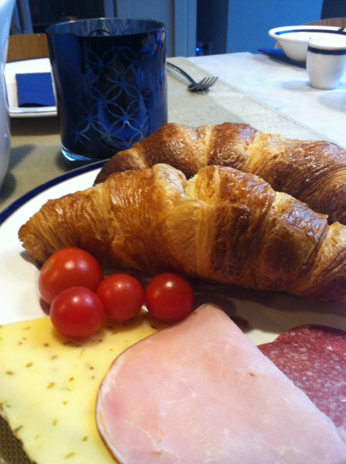 Continental Breakfast; Dutch breakfast; European breakfast; European food, eat; breakfast; food; crosissant; ham; salami; cheese; cherry tomatoes; European culture; breakfast in Amsterdam; Europe; travel;