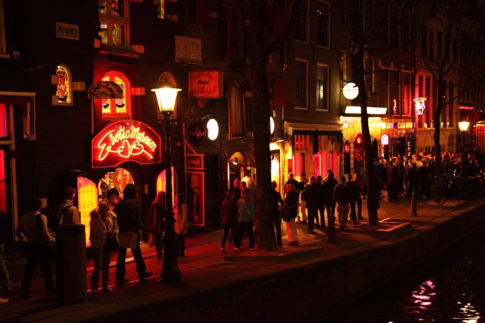 Bright lights outside the sex-show at Casa Rosso. Amsterdam.