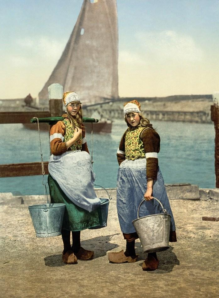 Dutch children in traditional costume.