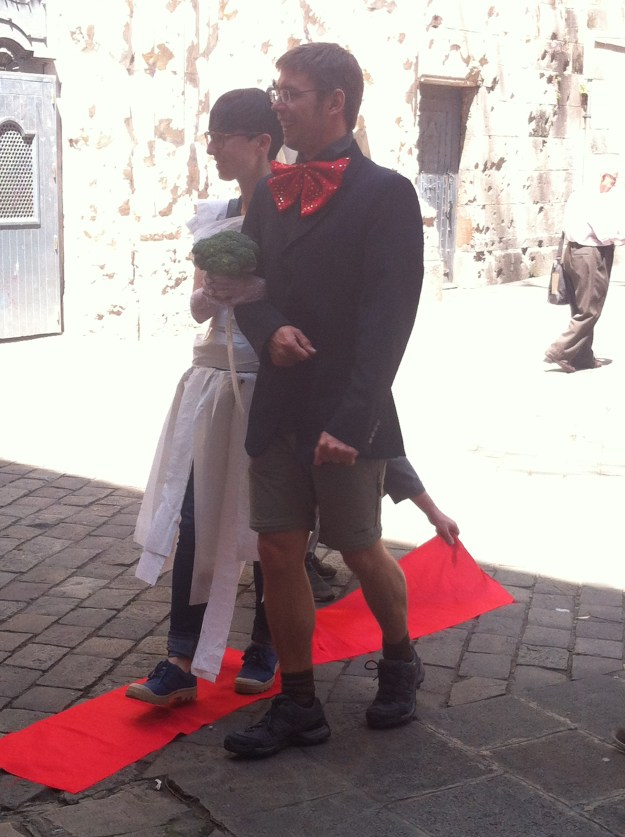 """No tour guide but very creative students in Barcelona, Spain. Getting """"married!"""""""