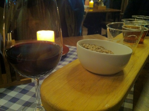 My glass of wine and the seeds in Riga, Latvia.
