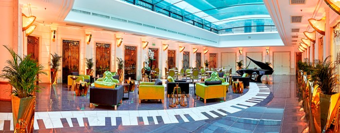 The Music Garden at the Aria Hotel in Budapest. See how clever the floors were made!