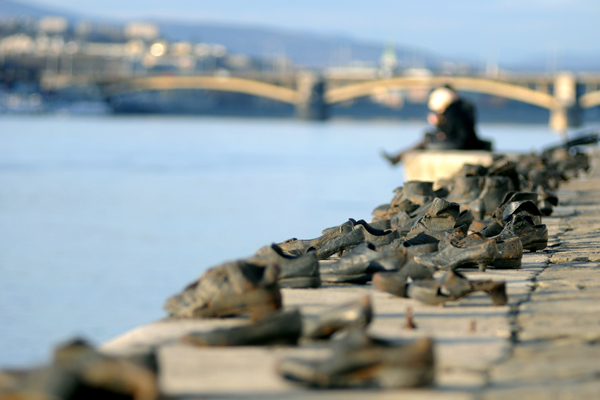 Jewish memorial shoes at the Danube in Budapest. © Phil Watkins
