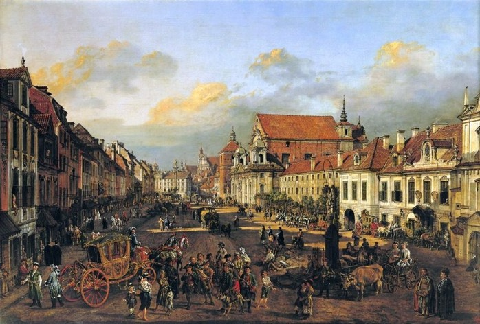 Bellotto Warsaw or Cracow Suburb leading to the Castle Square in Poland. Bernardo Bellotto: a Venetian painter in Warsaw - Musée du Louvre.