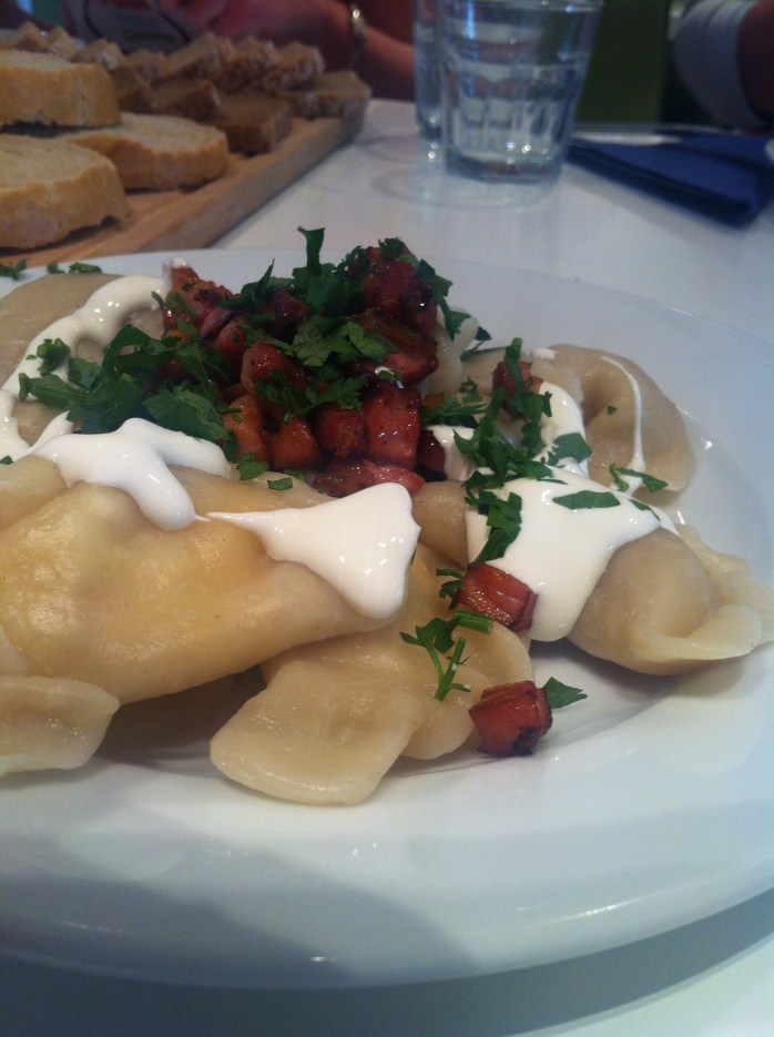 My fantastic pierogi with a smattering of bacon pieces, sprinkled with parsley.