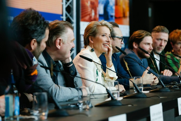 The film team with Brendan Gleeson, Emma Thompson & Daniel Brühl. © Berlinale