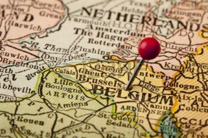 A map of Belgium.