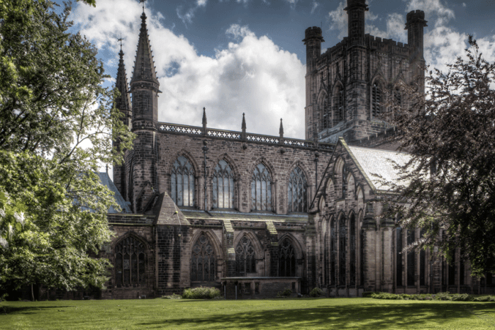 Outside the Chester Cathedral.