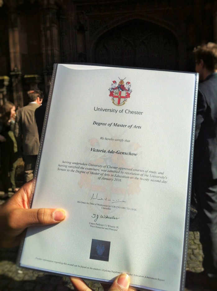 My Master of Arts Degree! University of Chester.