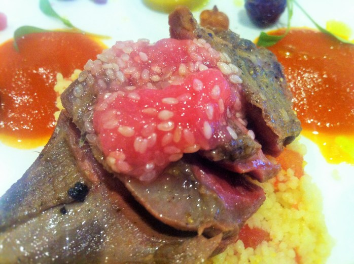 Wood Pigeon - Wirral shot wood pigeon breast, pigeon tagine sauce, falafel, olives, rhubarb, apricot, pomegranate, medjool dates, couscous & corriander from The Chef's Table in Chester! Yum!
