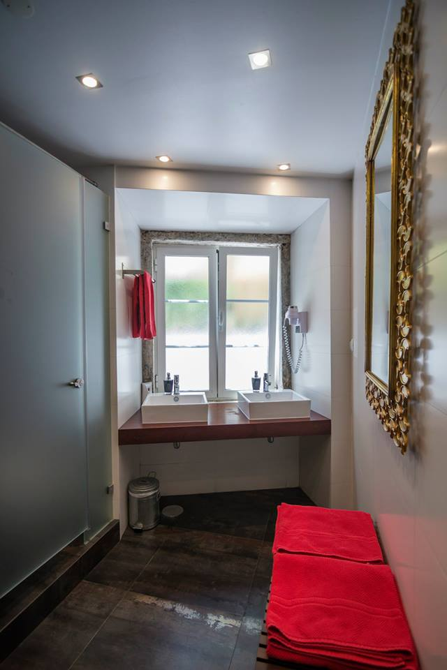 Our private bathroom at the boutique StayInn Lisbon Hostel in Portugal!