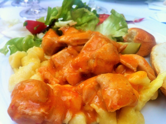 A well-deserved dinner of Hungarian Goulash, Hungarian pasta and a side salad at the Hungarian Embassy in Berlin!