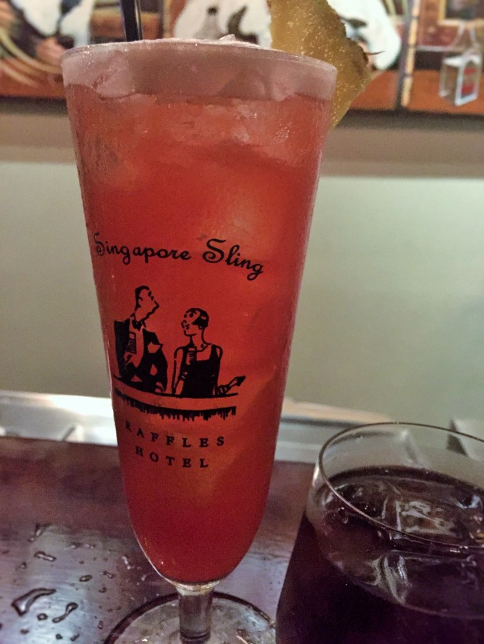 A Singapore Sling cocktail - Long Bar at Raffles Makati, hosted by Travel Massive at #TBEX Manila.