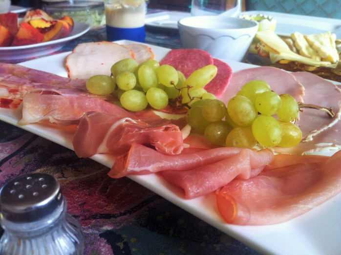 A most tempting breakfast spread of cold cuts.
