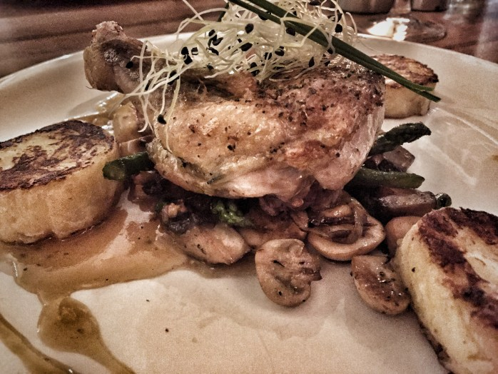 A Dutch dinner of guinea fowl, baked fluffy potoatoes, fried mushrooms, and asparagus!