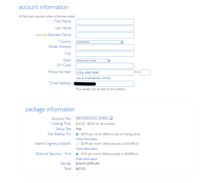 Your Account Information for putting in personal details