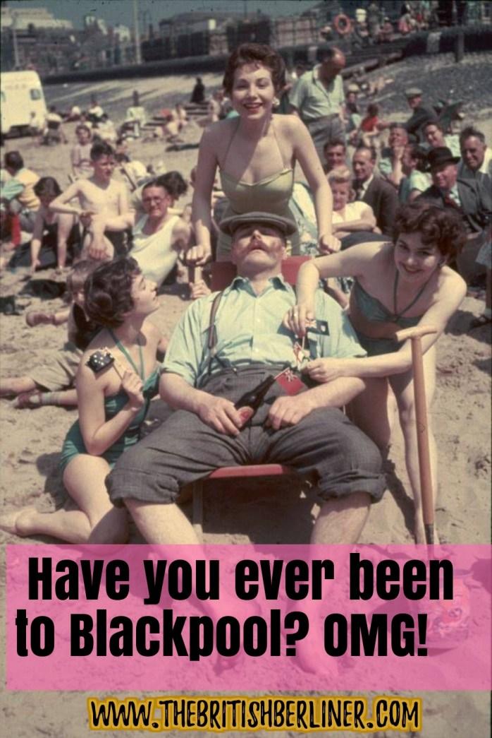 man; man on beach, women; beach; the old days; Blackpool; Blackpool beach; Blackpool Pleasure Beach; amusement park; seaside; sand; Blackpool; England; Britain; British; UK; Europe; travel; family travel;