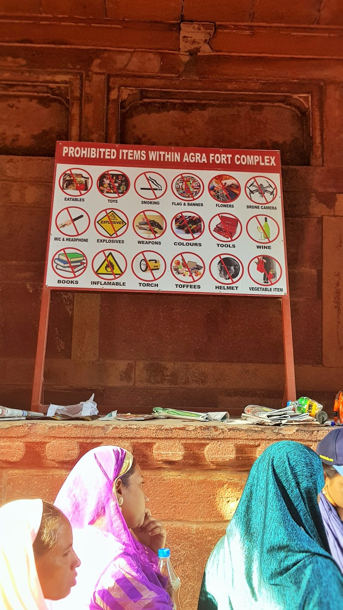 Prohibited items at the Agra Fort and Taj Mahal in Agra, India; Prohibited items at the Agra Fort; Prohibited items at the Taj Mahal; Prohibited items in Agra, India; Agra, India; books, food, wine, toys, helmets, torches, toffee and flowers are not allowed at the Agra Fort;books, food, wine, toys, helmets, torches, toffee and flowers are not allowed at the Agra Fort; books, food, wine, toys, helmets, torches, toffee and flowers are not allowed at the Taj Mahal; prohibited; not allowed