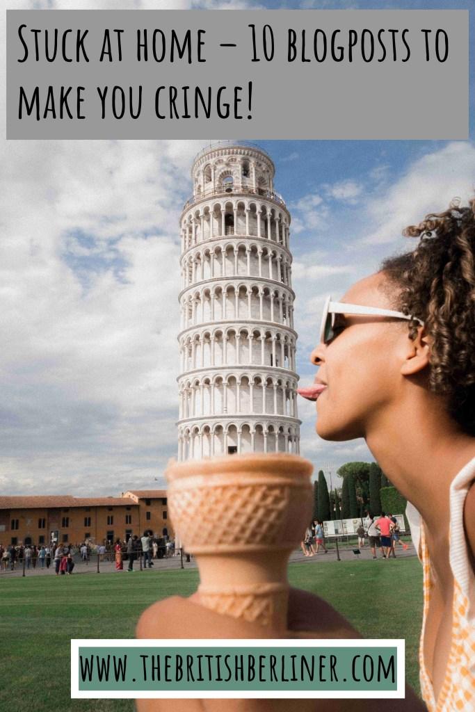 Pisa; leaning tower of Pisa; Italy; ice-cream, girl; girl licking ice-cream; ice-cream cone; lick; funny; humour; humor; tower; girl in Pisa; girl; woman; travel; Europe;