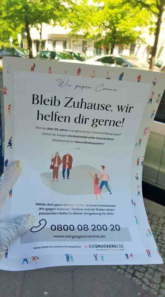 Victoria Ade-Genschow; The British Berliner; in Berlin; Bleb Zuhause; Stay Home; Wir gegen corona; Us against Corona; Wir gegen corona hotline; gegen Corona; Karuna; Corona; Covid-19; help for the over 65'; help for the vulnerable; help for health workers; help for high-risk groups; hotline; Berlin; Germany; travel; Europe;