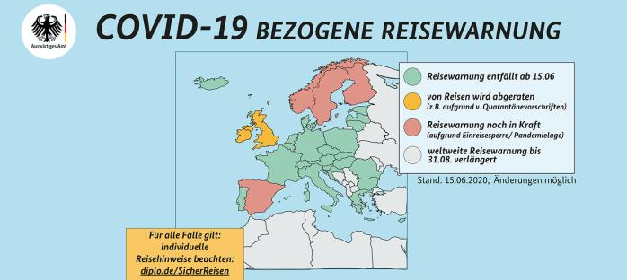 COVID-19 bezogene Reisewarnung; COVID-19 related travel warning; travel warning; travel;