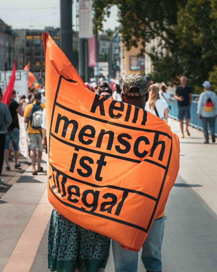 Kein Mensch ist illegal; No one is illegal; racism in Europe; racism; black lives matter; black lives; black people; people of colour; non-white people; prejudice; discrimination; intolerance; stop killing us; black empowerment; black pride; Europe; Berlin; march; protest; demonstration; all races; unity; racial injustice; blm; tolerance; peace; Germany;