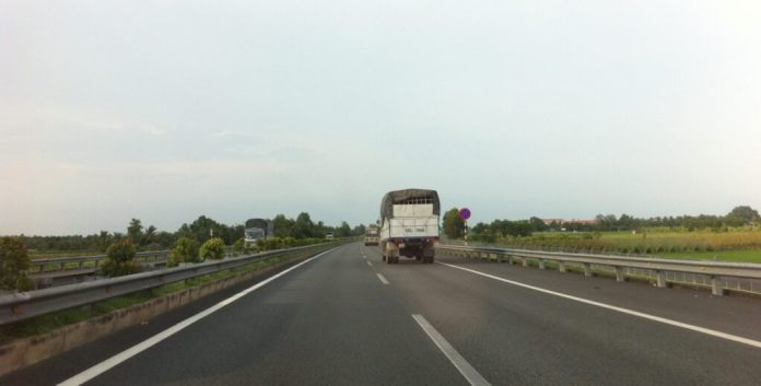 On Trung Luong highway going to My Tho, Tien Giang