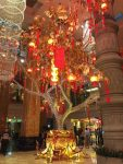 a decorated tree inside Naga World, the largest casino in Phnom Penh
