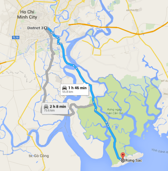The map that shows direction from Ho Chi Minh City to Can Gio