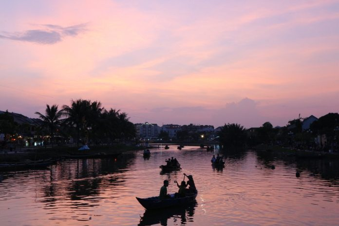 river in Hoi An ancient town when sundown