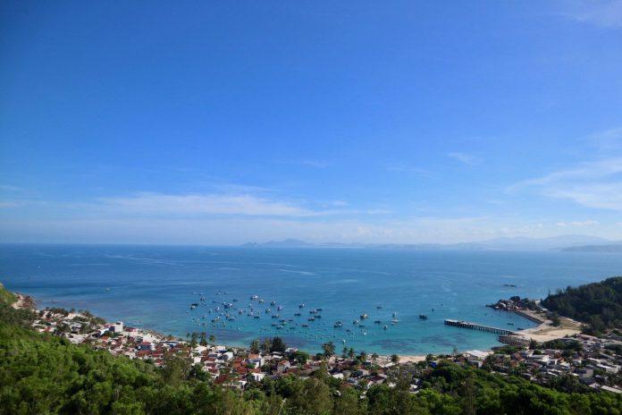 The fishing village at Cu Lao Xanh island, near Quy Nhon city, Binh Dinh, Vietnam