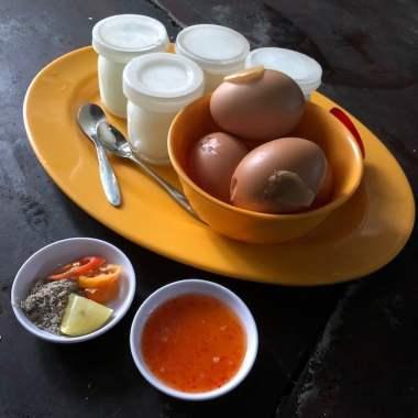 dessert with boiled eggs and yogurt at vung tau, vietnam