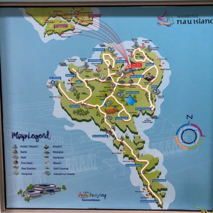 map at batam, indonesia. The first day in 5 days trip to Singapore, Indonesia, Malaysia