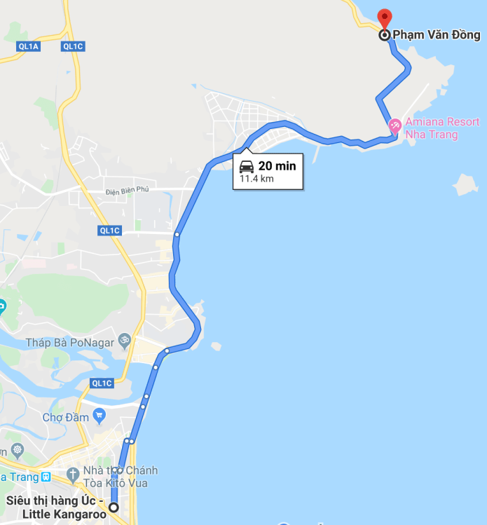 Map to go to the street vendor on the pass from Nha Trang city